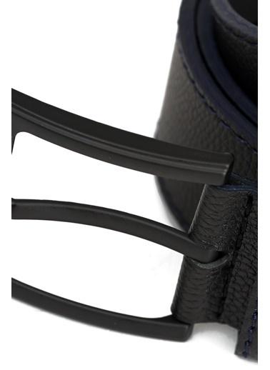 Deri Company Erkek Basic Kot Kemer Lacivert Dikişli Siyah 112028 Siyah